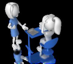women_calculator_desk